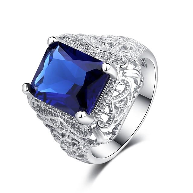 Statement Ring Safiiri Vintage tyyli Sininen Kupari Tekojalokivi Platinum Plated Toivoa naiset Vintage liioittelu 1kpl 6 7 8 9 10 / Naisten / Sormus