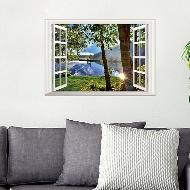 مناظر طبيعية ملصقات الحائط لواصق لواصق حائط مزخرفة, الفينيل تصميم ديكور المنزل جدار مائي جدار / زجاج / الحمام زخرفة 1PC / قابل اعادة الوضع