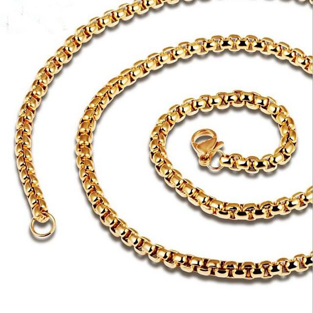 رجالي عقد ستايل سلسلة مارينر خلاق موضة الصلب التيتانيوم أسود ذهبي 60 cm قلادة مجوهرات 1PC من أجل مناسب للبس اليومي