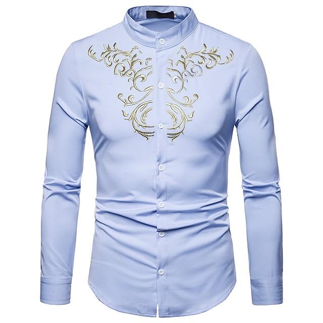 رجالي ترايبال قميص مطرز كم طويل مناسب للعطلات قمم عتيق بوهو رقبة طوقية مرتفعة أبيض أسود نبيذ