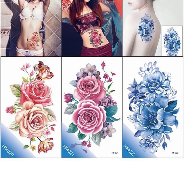 6 pcs ideiglenes tetoválás Környezetbarát / Új design Karosszéria / brachium / Mellkas kerület Vízátutaló matrica Tetkó matricák