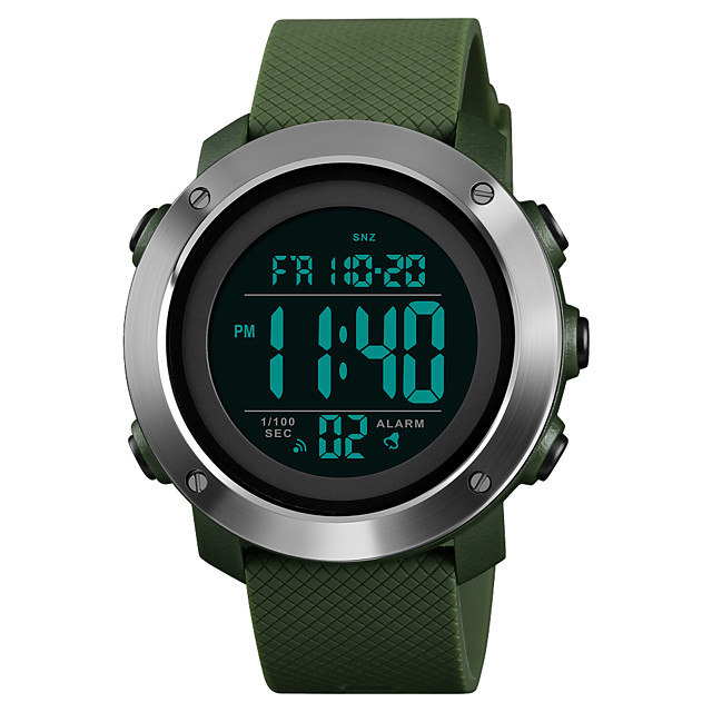 SKMEI رجالي ساعة رياضية ساعة عسكرية ساعة رقمية رقمي كاجوال مقاوم للماء رقمي أسود أخضر / سنة واحدة / ستانلس ستيل / جلد اصطناعي / ياباني / المنبه