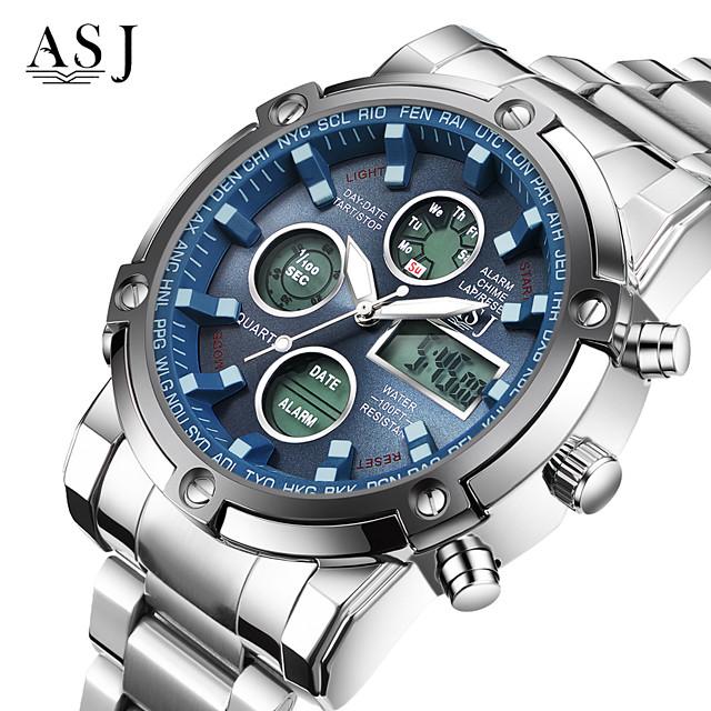ASJ Муж. Спортивные часы Наручные часы электронные часы Кварцевый Мода Защита от влаги Аналого-цифровые Белый Черный Синий / Нержавеющая сталь / Японский / Два года / Секундомер / ЖК экран