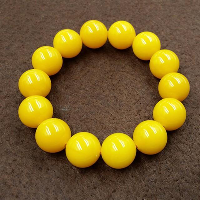 رجالي أساور حبلا خرز خلاق كرة الآسيوي بسيط عرقي حجر مجوهرات سوار أصفر من أجل مناسب للبس اليومي شارع