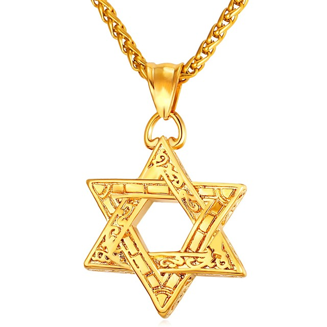 Men's Pendant Necklace Vintage Style Classic Star Star of David Pentagram Vintage scottish Stainless Steel Rose Gold Black Gold Silver 55 cm Necklace Jewelry 1pc For Gift Daily
