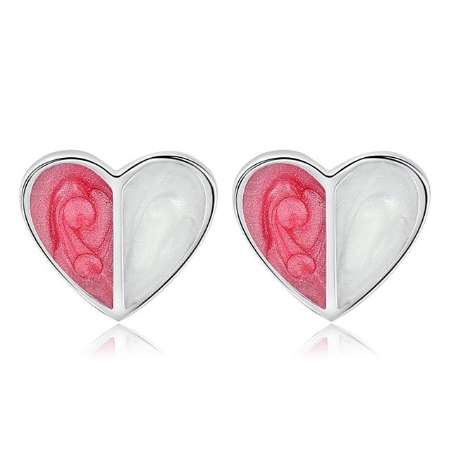Pentru femei Cercei Stud Stl Inimă femei Dulce Modă Reșină cercei Bijuterii Argintiu Pentru Zilnic Dată 1 Pair