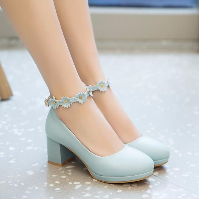 tacchi delle ragazze scarpe da ragazza di fiori décolleté piccole per bambini scarpe da donna principessa cosplay pu pelle margherita fiore cinturino fibbia alla caviglia bianco blu rosa primavera estate
