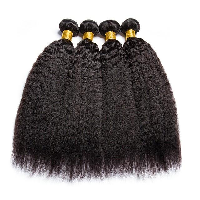 Lot de 4 Tissage de cheveux Cheveux Péruviens Droit Yaki Extensions de cheveux Naturel humains Cheveux Naturel Rémy Paquets de 100% Remy Hair Weave 400 g Tissages de cheveux humains Extensions / 8A
