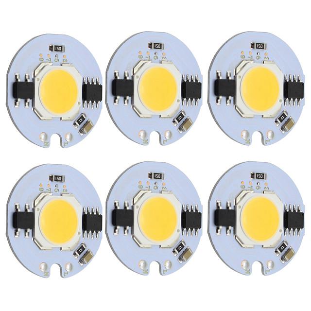 9 واط جولة cob الصمام رقاقة الذكية ic ac 220 فولت ل diy ضوء السقف النازل الدافئة / الباردة الأبيض (6 قطع)