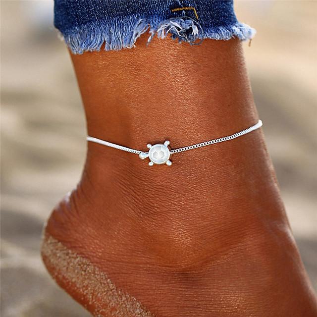 Bracelet de cheville bijoux de pieds dames simple Bohème Femme Bijoux de Corps Pour Vacances Bikini Rétro Yoga Alliage Tortue Argent 1 pc