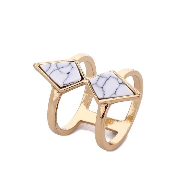 للنساء خاتم أبيض، فيروز ستايل ذهبي رخام سبيكة شائع هيب هوب نمط الشعبية 1PC 8 / نسائي