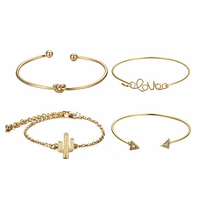 4pcs Manchettes Bracelets Bracelet Parure Bracelet Femme Tendance Noué Zircon cubique Cactus dames Basique Coréen Mode Bracelet Bijoux Dorée Forme Géométrique Irrégulier pour Cadeau Rendez-vous