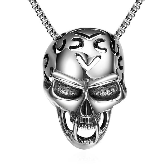 رجالي قلائد الحلي ستايل جمجمة موضة مجوهرات الأولية شيطاني الصلب التيتانيوم معدن التنغستن فضي 61 cm قلادة مجوهرات 1PC من أجل هدية مناسب للبس اليومي