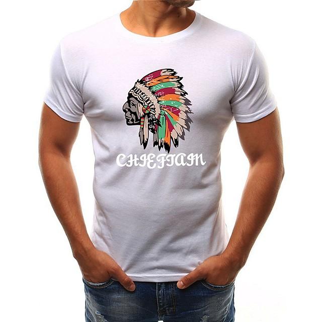 Homme T shirt Géométrique Imprimé Hauts Coton Blanche Noir Gris