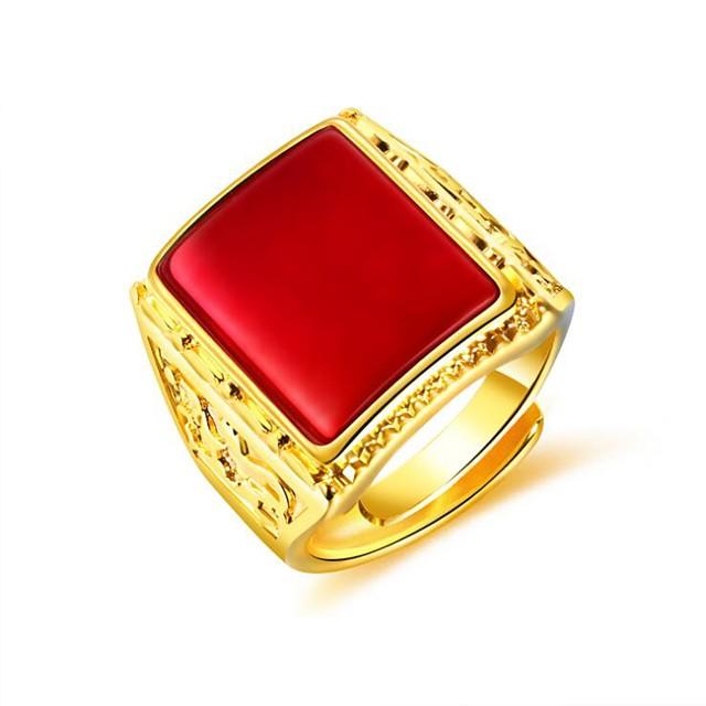 للرجال خاتم ياقوت إصطناعي ستايل أسود أحمر أخضر مطلية بالذهب عيار 18 نحاس خلاق موضة 1PC قابل للتعديل / رجالي