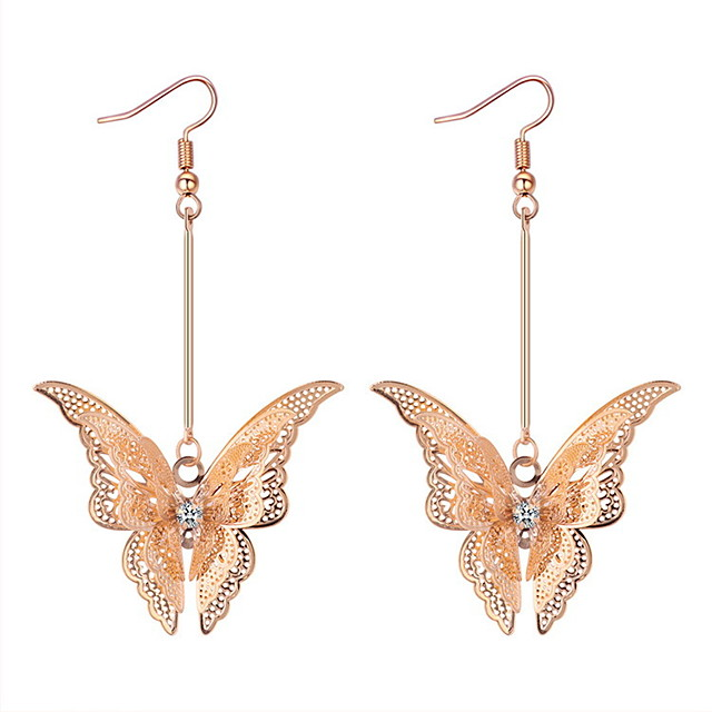 Femme Boucle d'Oreille Pendantes Géométrique Long Papillon dames Luxe Hyperbole Des boucles d'oreilles Bijoux Dorée / Argent Pour Soirée Mascarade 1 paire