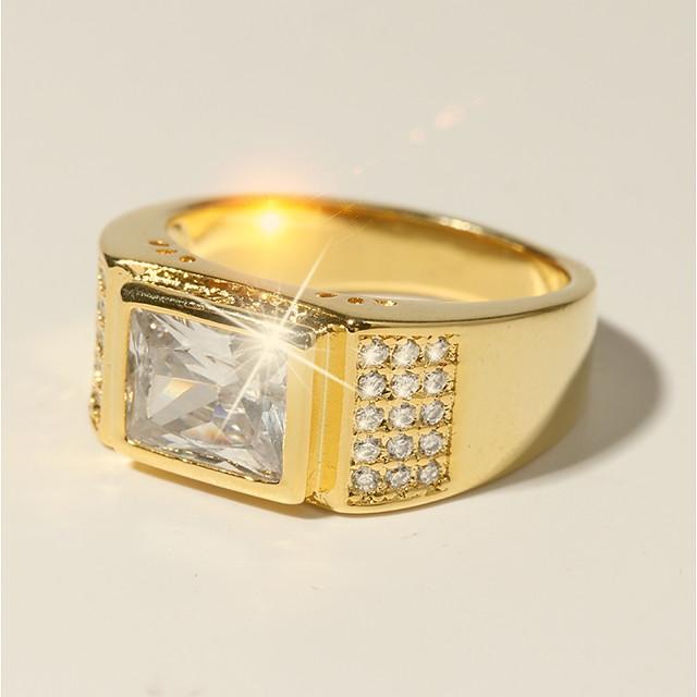 Bague / Anneaux Classique Dorée Laiton Imitation Diamant 24K Gold Plated Croyez Classique Vacances Mode 1pc 7 8 9 10 11 / Homme / Solitaire