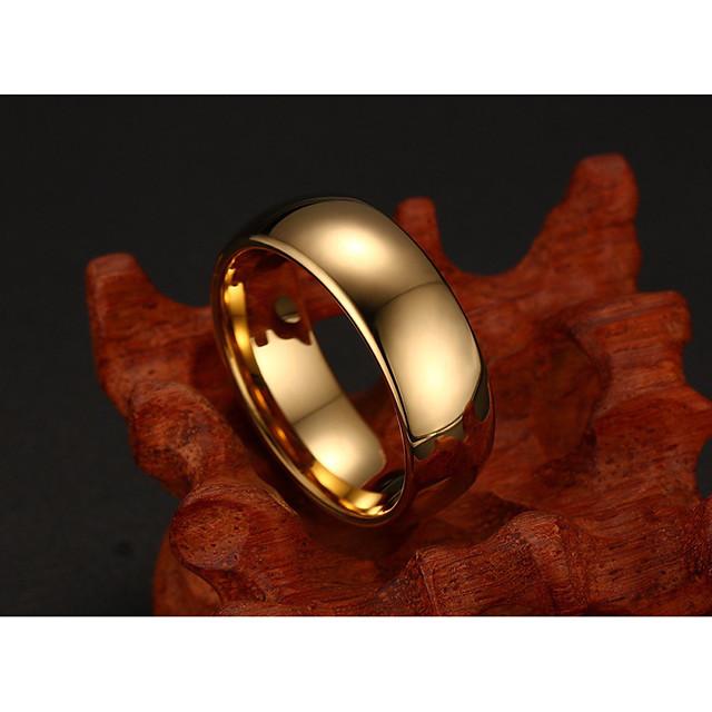 خاتم كلاسيكي ذهبي معدن التنغستن بسيط أساسي موضة 1PC 6 7 8 9 10 / رجالي