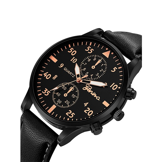 Herre Armbåndsur Aviation Watch Quartz Overstørrelse Armring Kronograf Analog Brun Svart Rose Gull / Hvit Svart / Rose Gull / Ett år / Lær / Stor urskive / SSUO 377