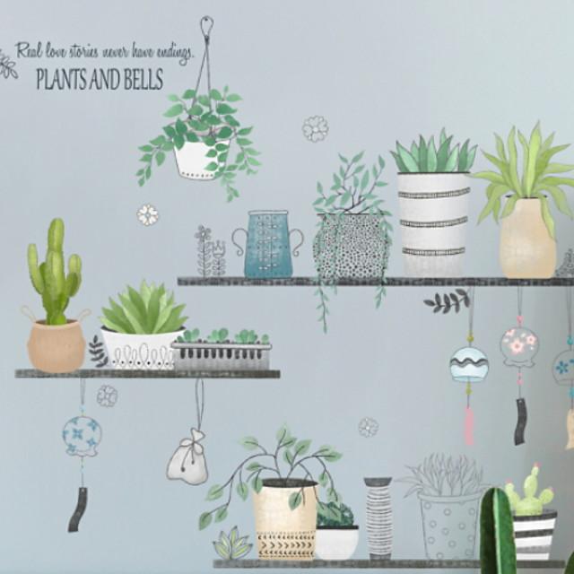 الأزهار / النباتية ملصقات الحائط لواصق حائط الطائرة لواصق حائط مزخرفة, PVC تصميم ديكور المنزل جدار مائي جدار زخرفة 1SET