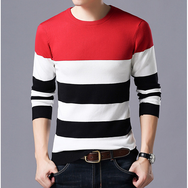 Homme Bloc de Couleur Pullover Manches Longues Mince Normal Pull Cardigans Col Rond Rouge Bleu Marine Gris
