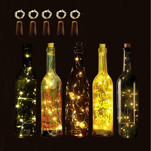 BRELONG® زجاجة النبيذ سدادة الصمام ليلة الخفيفة عيد الميلاد الديكور الزفاف زر البطارية بالطاقة 5pcs