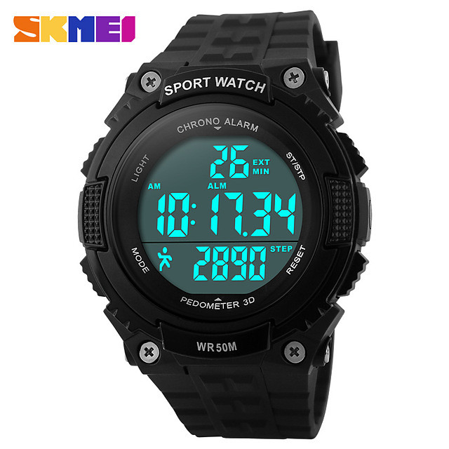SKMEI Men's Women's Sport Watch Digital Watch Digital Casual Water Resistant / Waterproof Digital Black Green / Silicone / Calendar / date / day / Chronograph
