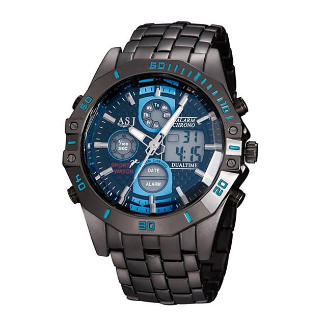ASJ رجالي ساعة رياضية ساعة رقمية كوارتز ترف مقاوم للماء تناظري-رقمي أبيض أزرق / ستانلس ستيل / ياباني / رزنامه / الكرونوغراف / قضية