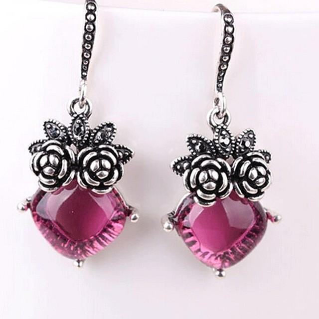 Damen Synthetischer Amethyst Tropfen-Ohrringe Klassisch Blume damas Klassisch Modisch Ohrringe Schmuck Silber Für Alltag 1 Paar