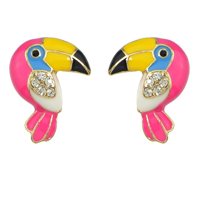 Femme Tourmaline synthétique Boucles d'oreille Clou Tendance Parrot Chanceux dames Basique Mode Des boucles d'oreilles Bijoux Fuchsia Pour Quotidien Rendez-vous 1 paire
