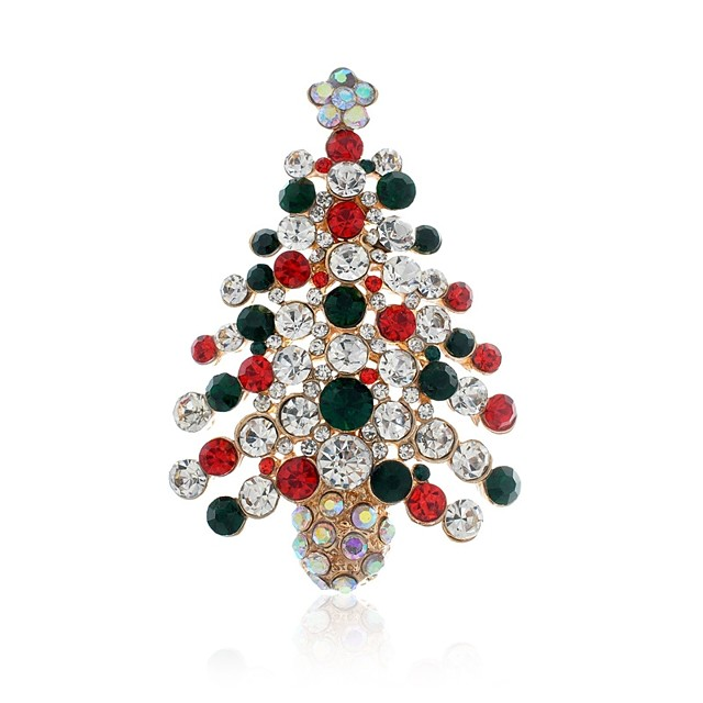 Women's Brooches Classic Christmas Tree Ladies Stylish Classic Rhinestone Brooch Jewelry Gold For Christmas