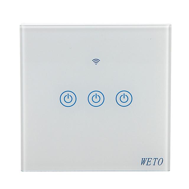 uo w-t13 eu / us / cn 3 bandă wifi comutator inteligent la perete touch senzor comutator smart home telecomandă funcționează cu domiciliu alexa google prin telefon inteligent
