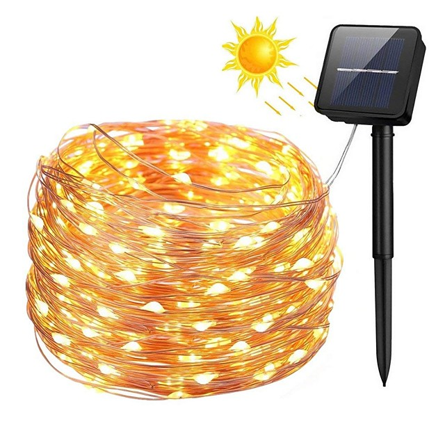 zdm 100 المصابيح 10 متر 33ft الفضة الأسلاك النحاسية الطاقة الشمسية أضواء سلسلة أضواء النجوم الجنية سلسلة مع 8 وضع للماء ل حديقة الزفاف المنزل حفلة عيد ميلاد فناء الحديقة أشجار