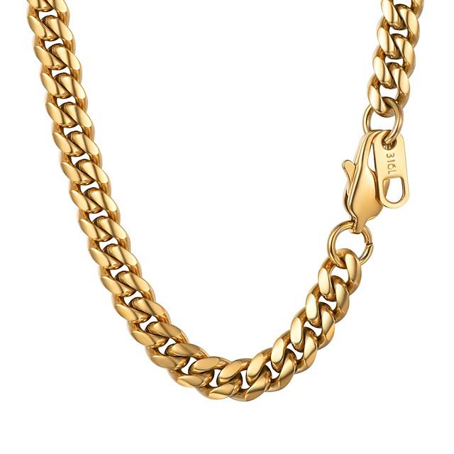 رجالي قلادات السلسلة سلسلة سميكة موضة الفولاذ المقاوم للصدأ أسود ذهبي فضي 55 cm قلادة مجوهرات 1PC من أجل هدية مناسب للبس اليومي