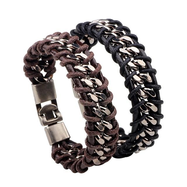 Bracelets en cuir Loom Bracelet Homme Rétro Tressé Cuir Créatif Elégant Coréen Bracelet Bijoux Noir Marron Circulaire pour Quotidien Bar