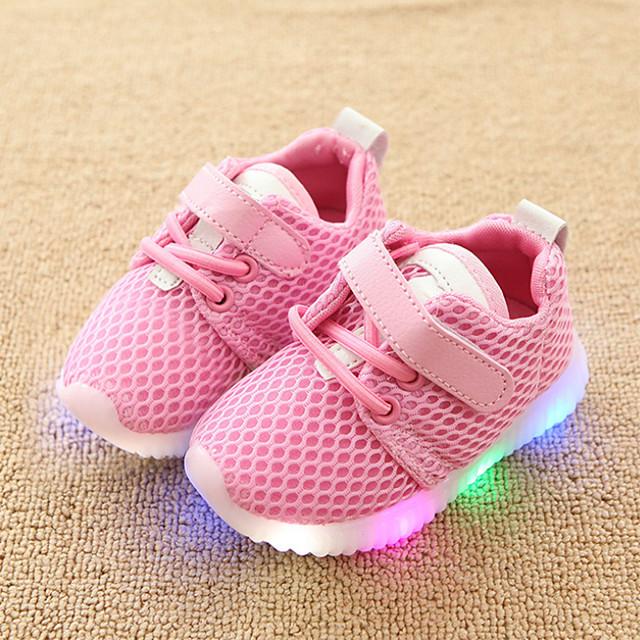 Dla dziewczynek Wygoda / Świecące buty Siateczka Adidasy Maluch (9 m-4 lat) / Małe dzieci (4-7 lat) Haczyk i pętelka / LED Biały / Czarny / Różowy Wiosna i jesień