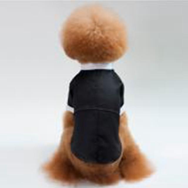 Hunde Katzen Kleider Smoking Welpenkleidung Solide Party / Abends Hochzeit Hundekleidung Welpenkleidung Hunde-Outfits Schwarz Kostüm für Mädchen und Jungen Hund Baumwolle S M L XL XXL