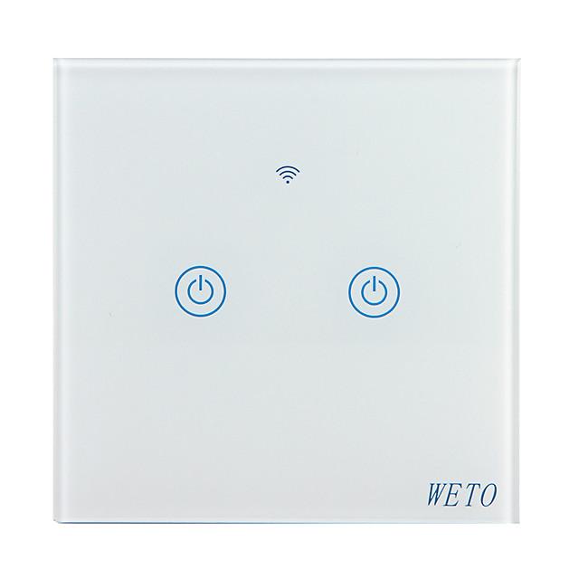 weto w-t12 eu / us / cn 2 gang wifi commutateur mural intelligent capteur tactile commutateur intelligent maison télécommande fonctionne avec alexa google home via un téléphone intelligent