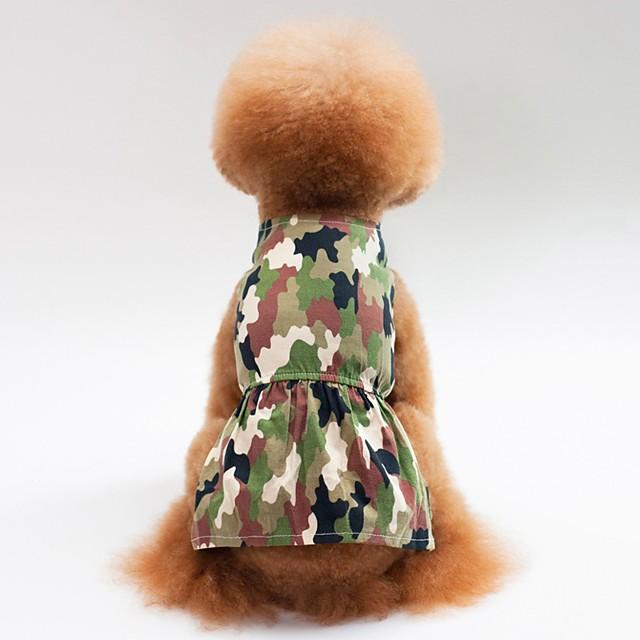 كلاب قطط الفساتين ملابس الجرو تمويه فساتين & تنورات كاجوال / يومي ملابس الكلاب ملابس الجرو ملابس الكلب زهري أخضر كوستيوم للفتاة والفتى الكلب قطن XS S M L XL