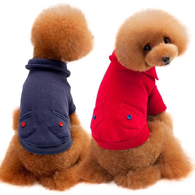 كلاب قطط البلوزات كنزة ملابس الجرو لون سادة كاجوال / يومي دافئ / تدفيئ الشتاء ملابس الكلاب ملابس الجرو ملابس الكلب أحمر رمادي كوستيوم للفتاة والفتى الكلب قطن S M L XL XXL