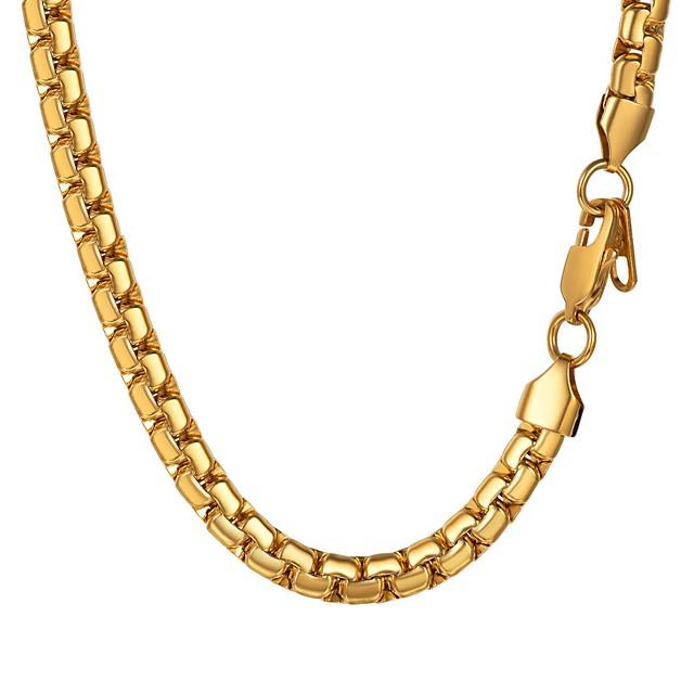 رجالي عقد ربط سلسلة سلسلة مارينر موضة الفولاذ المقاوم للصدأ أسود ذهبي فضي 55 cm قلادة مجوهرات 1PC من أجل هدية مناسب للبس اليومي