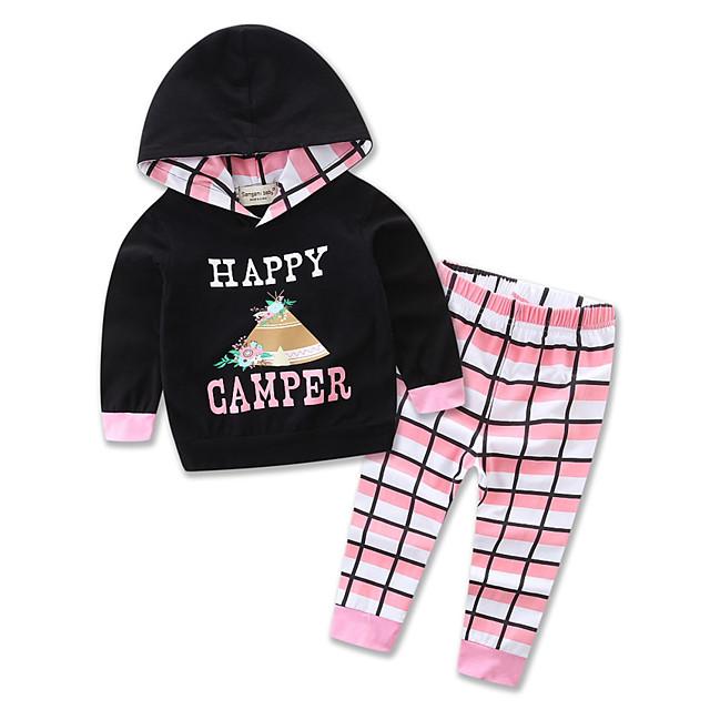 bébé Fille Simple / Actif Quotidien / Sports Pied-de-poule / Halloween Imprimé Manches Longues Normal Ensemble de Vêtements Noir / Bébé