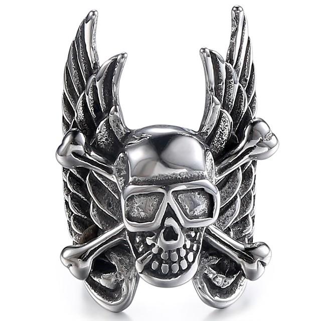 Inel Stil Vintage Negru Oțel titan Craniu Stilat Vintage Punk 1 buc 8 9 10 11 12 / Bărbați