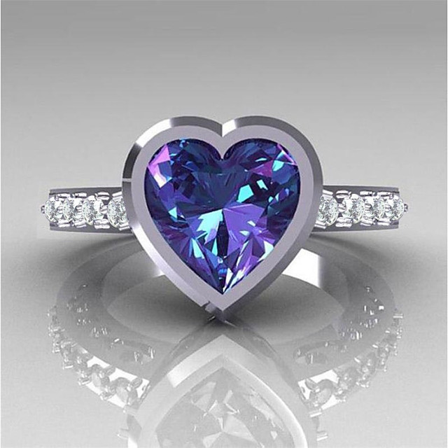 Engagement Ring Sapphire Classic White Purple Copper Rhinestone Heart Ladies Stylish Romantic 1pc 6 7 8 9 10 / Women's / Cubic Zirconia