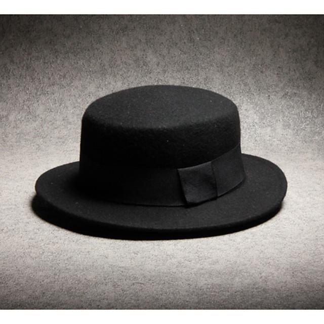 أسود قبعة فيدورا لون سادة رجالي بوليستر