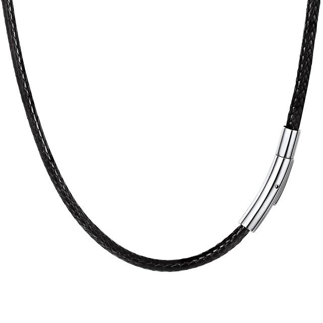Bărbați Lănțișor Împletit Modă Teak Piele  Negru 55 cm Coliere Bijuterii 1 buc Pentru Cadou Zilnic