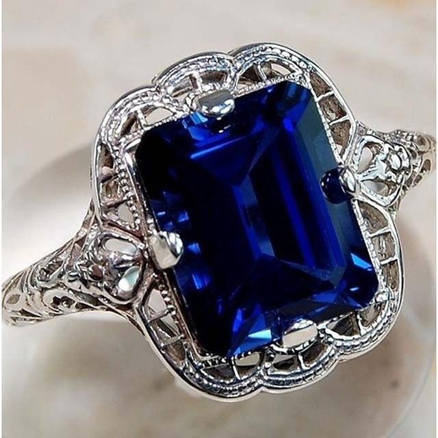 خاتم أزرق ياقوتي كلاسيكي أرجواني أزرق نحاس الصلب التيتانيوم سيدات أنيق كلاسيكي 1PC 6 7 8 9 10 / الزوجين / ياقوت إصطناعي / سوليتير