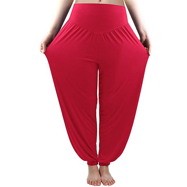Dames Hoge taille Yoga broek Harem Knickerbockers (dames) Ademend Zwart Paars Rood Modaal Zumba Pilates Dans Sport Sportkleding Rekbaar Ruimvallend