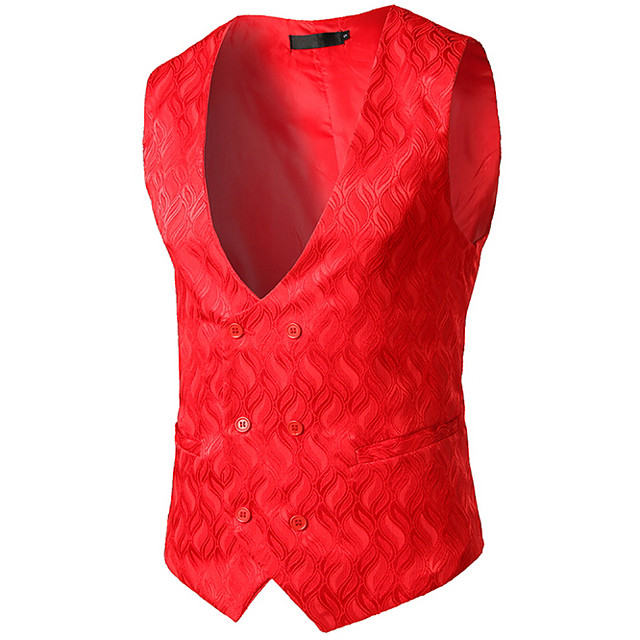 رجالي V رقبة Vest عادية لون سادة عمل بدون كم أحمر S / M / L / نصف رسمي