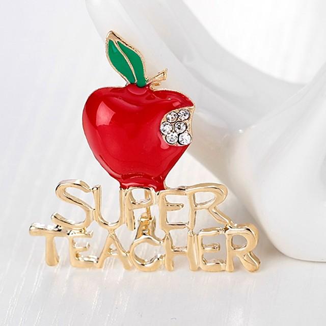 نسائي دبابيس كلاسيكي Apple سيدات بسيط أساسي حجر الراين بروش مجوهرات ذهبي من أجل عيد الميلاد